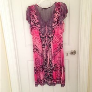 Cato Pink and Purple Embellished Dress